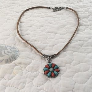 """Casual necklace with faux leather """"chain"""""""
